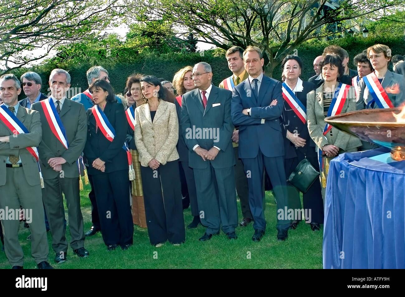 Paris France, Memorial Ceremonies Homage For the Pink Triangles Paris Mayor 'Bertrand Delanoe' (Center with - Stock Image