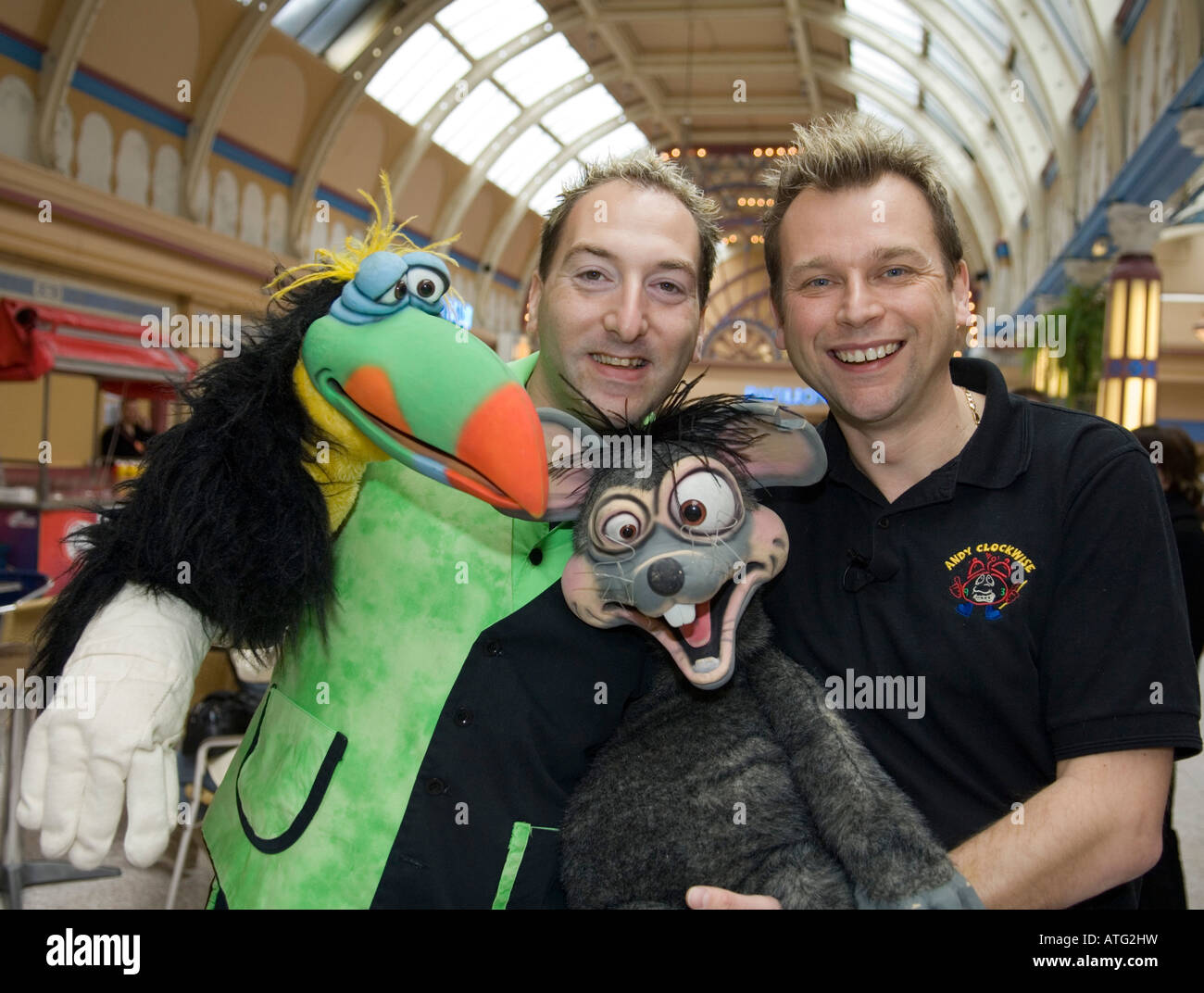 Childrens entertainers with puppet at the Opera House,Blackpool - Stock Image
