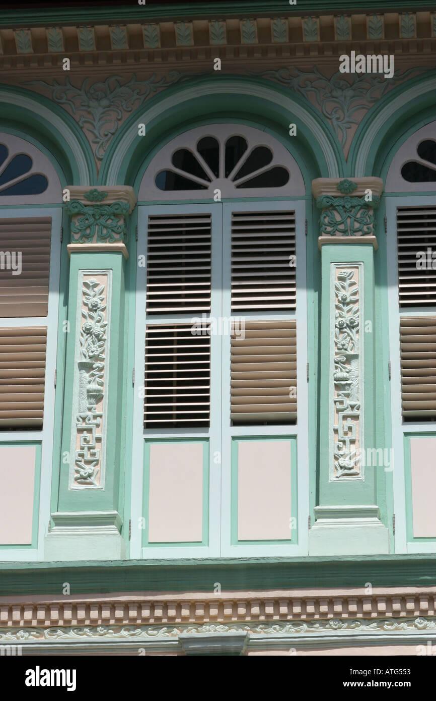 Shophouse Facade Chinatown Singapore - Stock Image