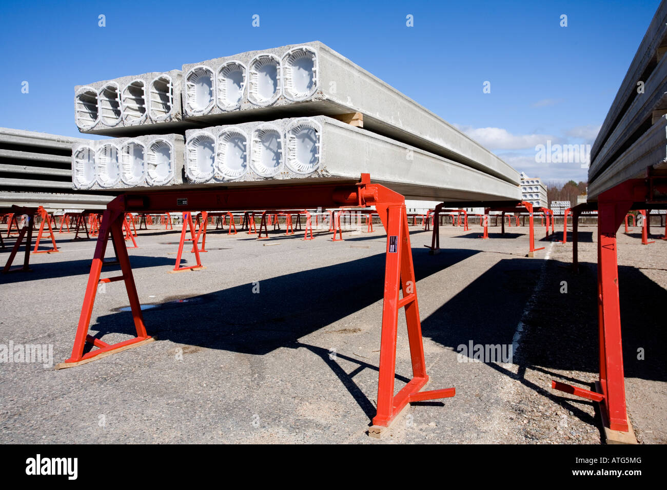 Inventory of prefabricated hollow core concrete construction elements - Stock Image