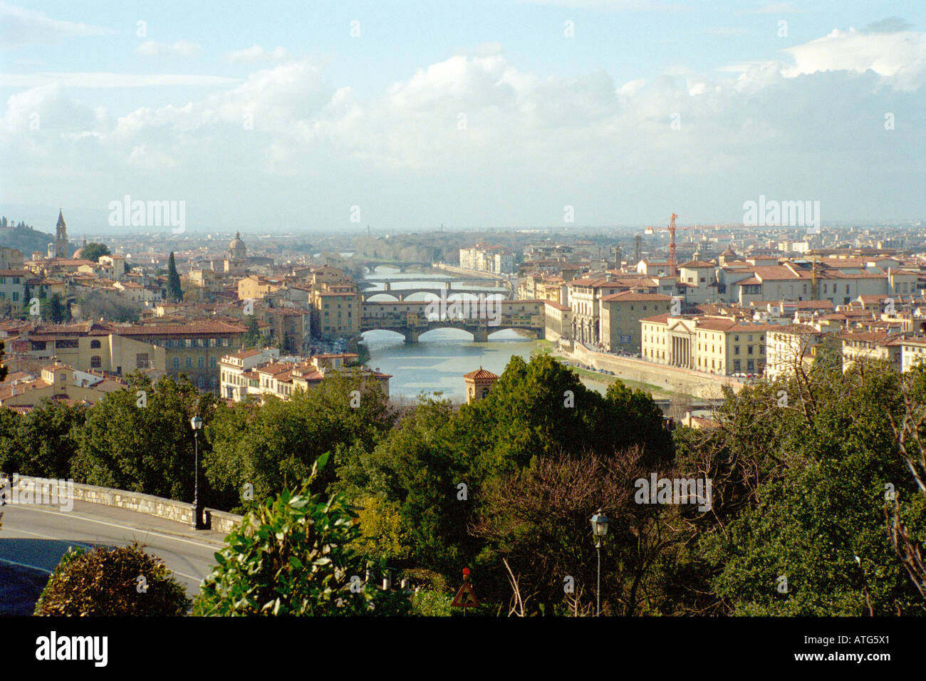 Arno Firenze - View of Arno Fiver and Bridges in Florence, Italy - Stock Image