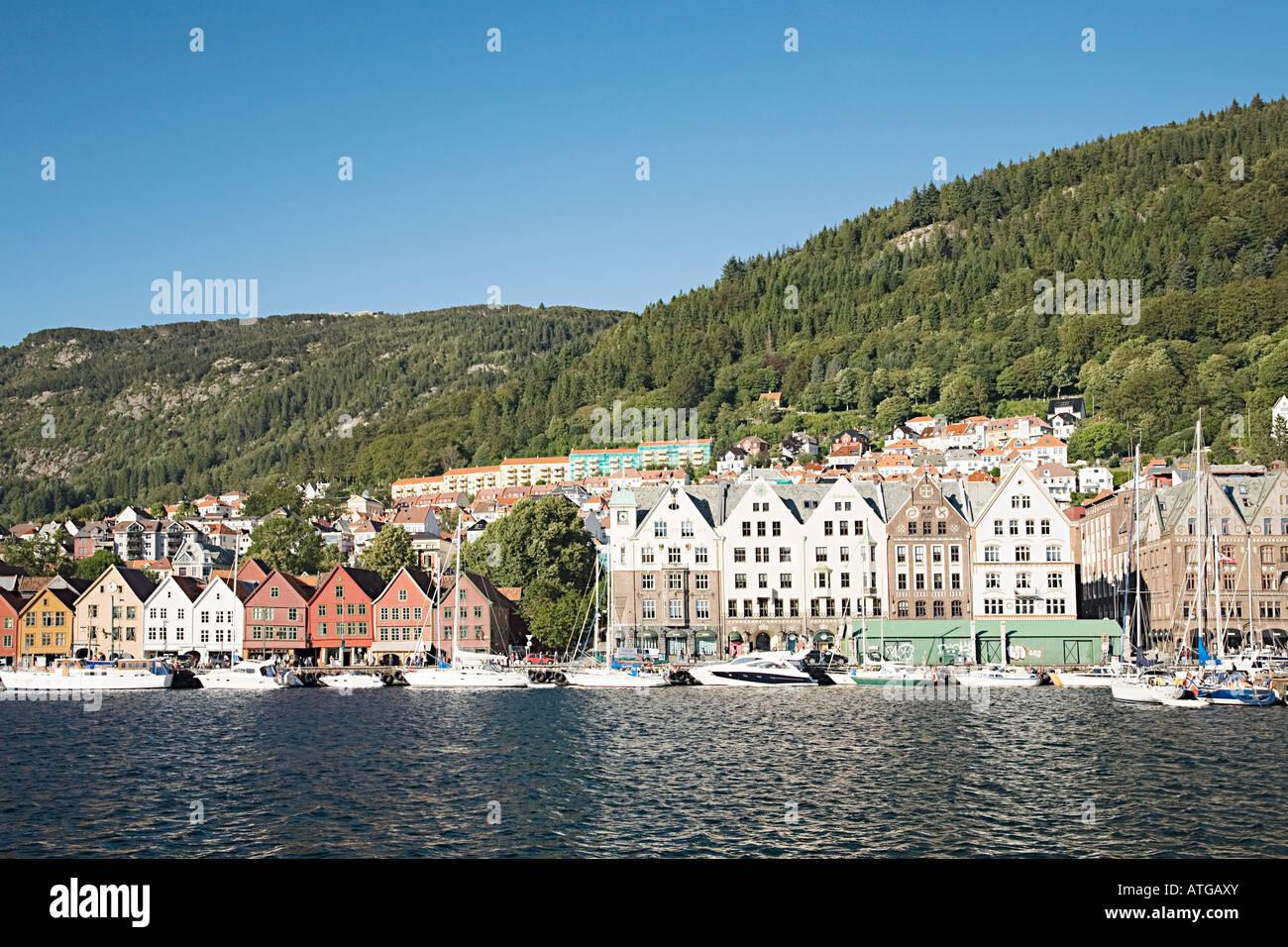 Hanseatic merchants houses bryggen - Stock Image