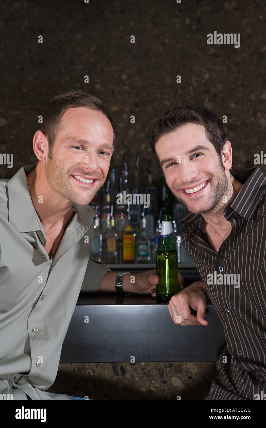 Two men in a bar Stock Photo