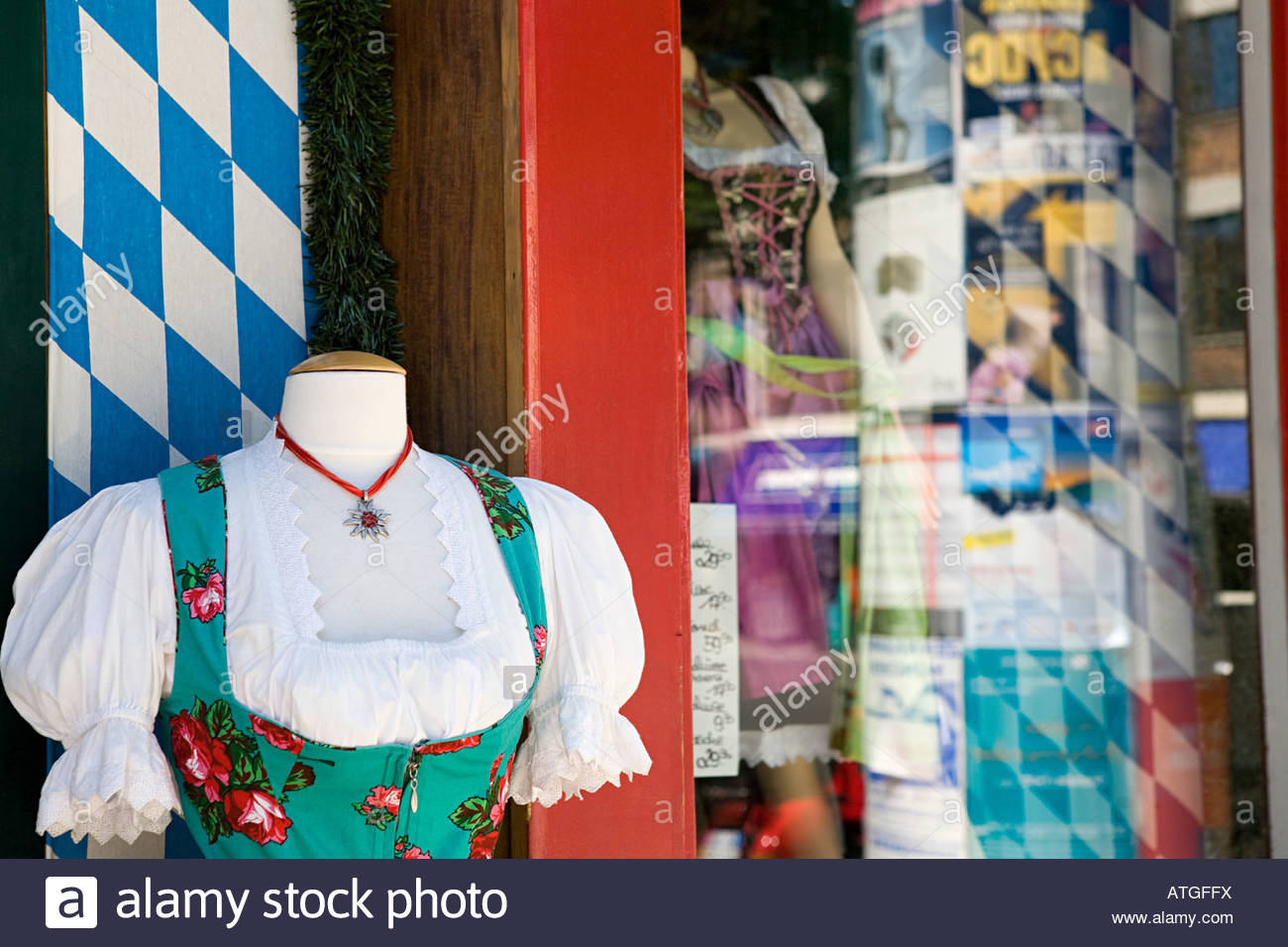 A shop selling german national dress - Stock Image