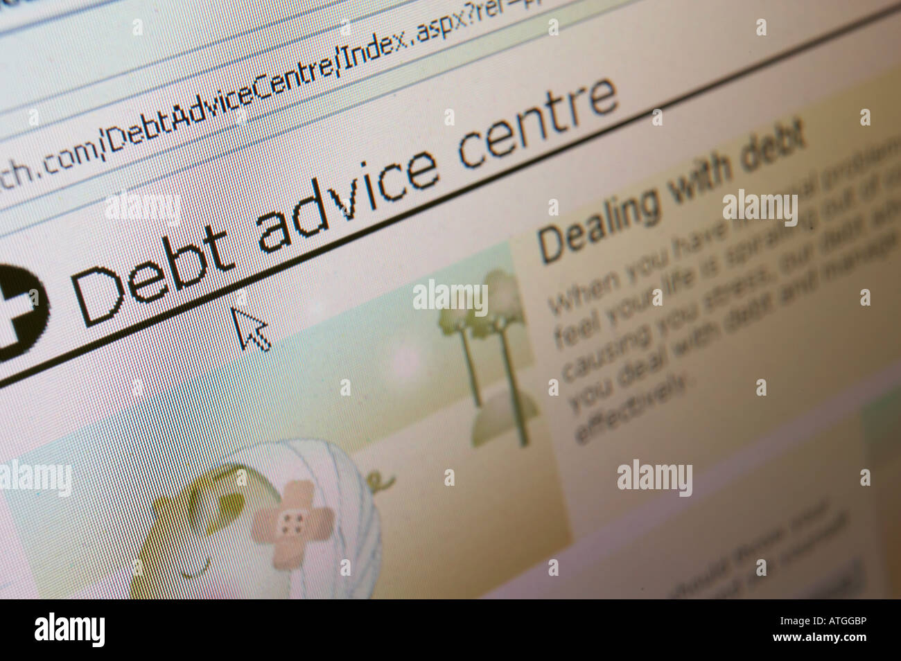 WEB SITE ON COMPUTER SCREEN SHOWING DEBT ADVICE - Stock Image