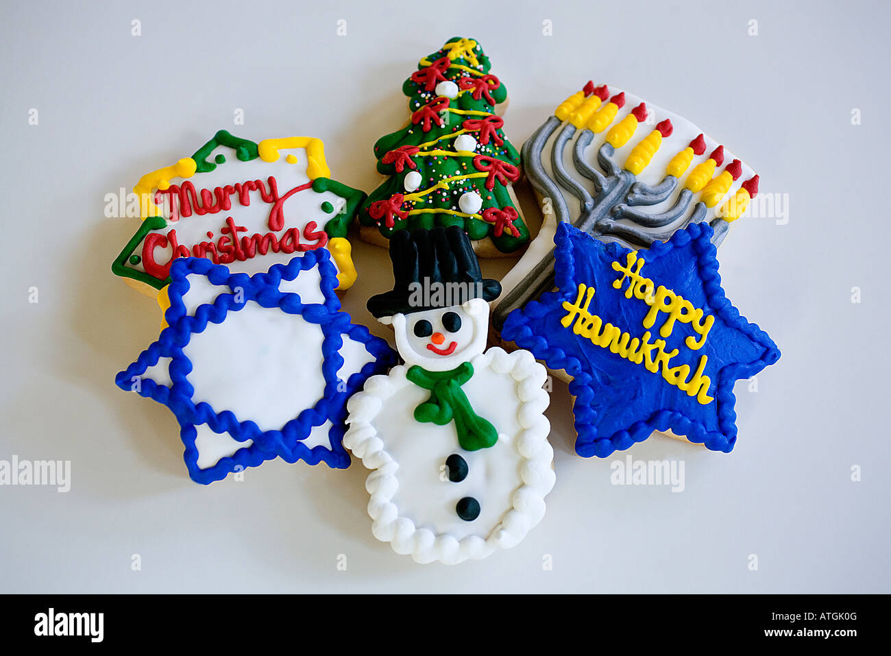 Christmas and Chanukah cookies decoration - Stock Image