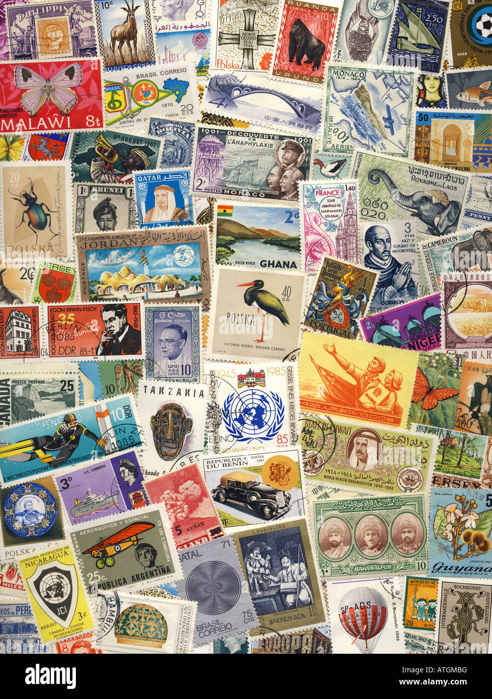 Postage Stamps of the World - Stock Image