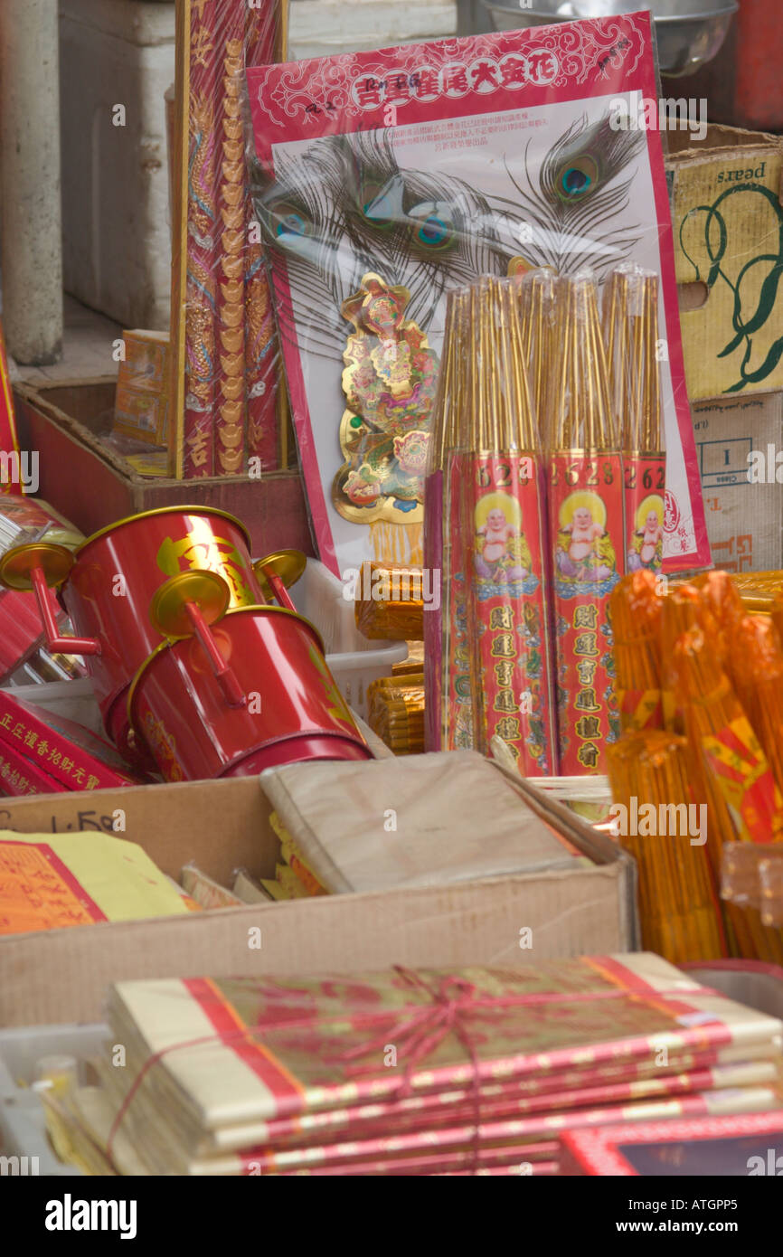 Chinese prayer paraphernalias sold at a stall in Malaysia - Stock Image