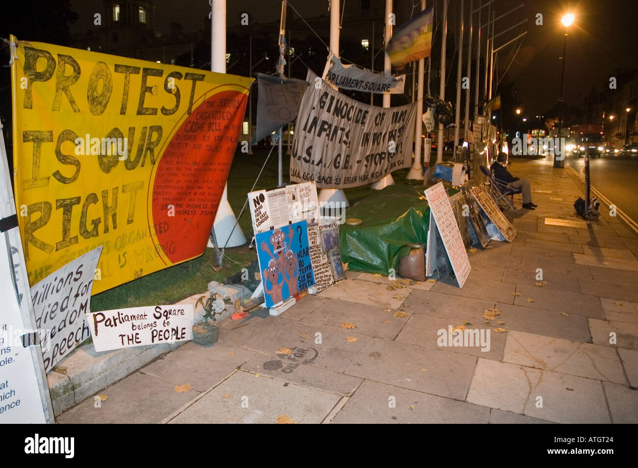 Permanant demonstration against the Iraq War outside the Houses of Parliament London The protest is the work of Brian Haw a chri - Stock Image