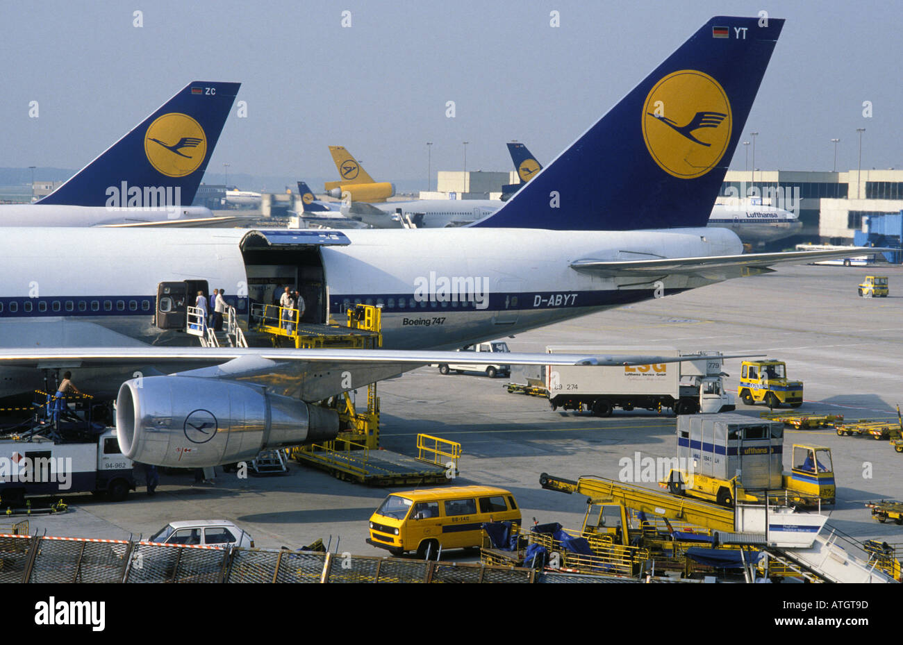 Aeroplanes at the airport of Frankfurt Hesse Germany - Stock Image