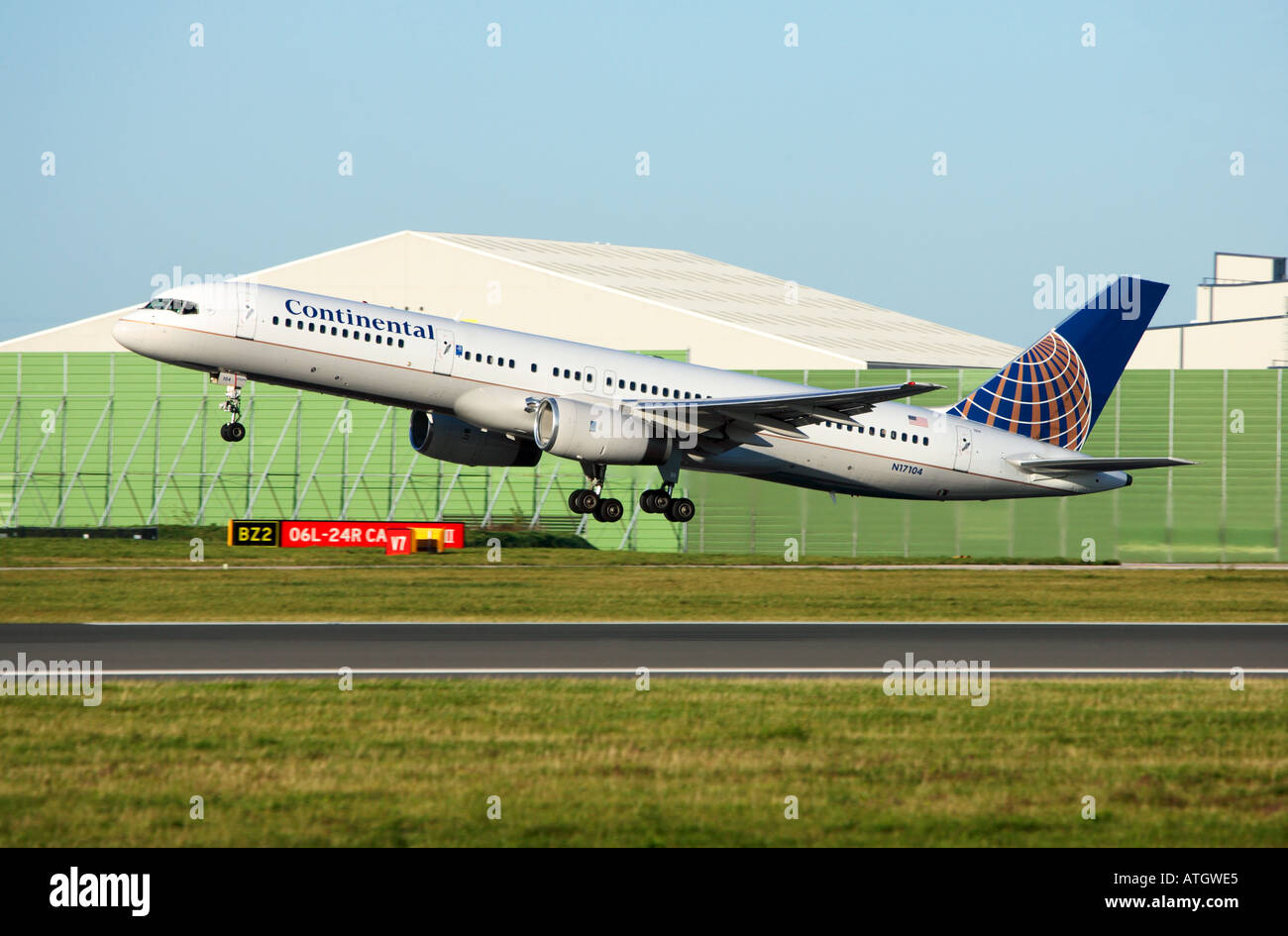 Continental Airlines at Manchester Airport infront of the atc control tower - Stock Image