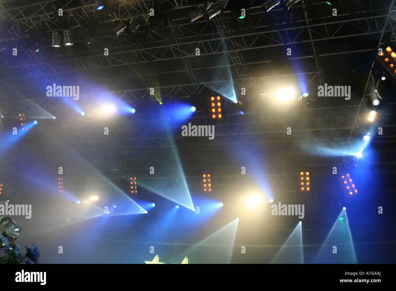 Multicolored Stage lights On the show - Stock Image