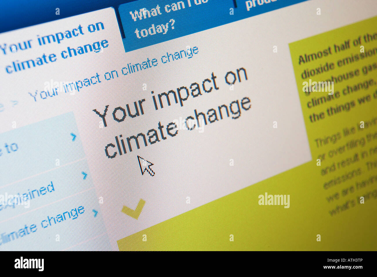 INTERNET WEB SITE ON COMPUTER SCREEN SHOWING CLIMATE CHANGE - Stock Image