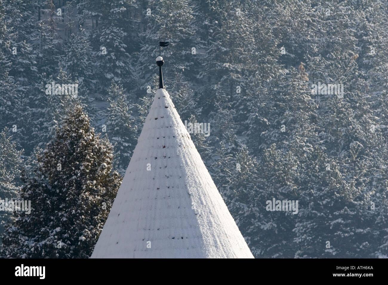 Castle turret coverd in snow Stock Photo