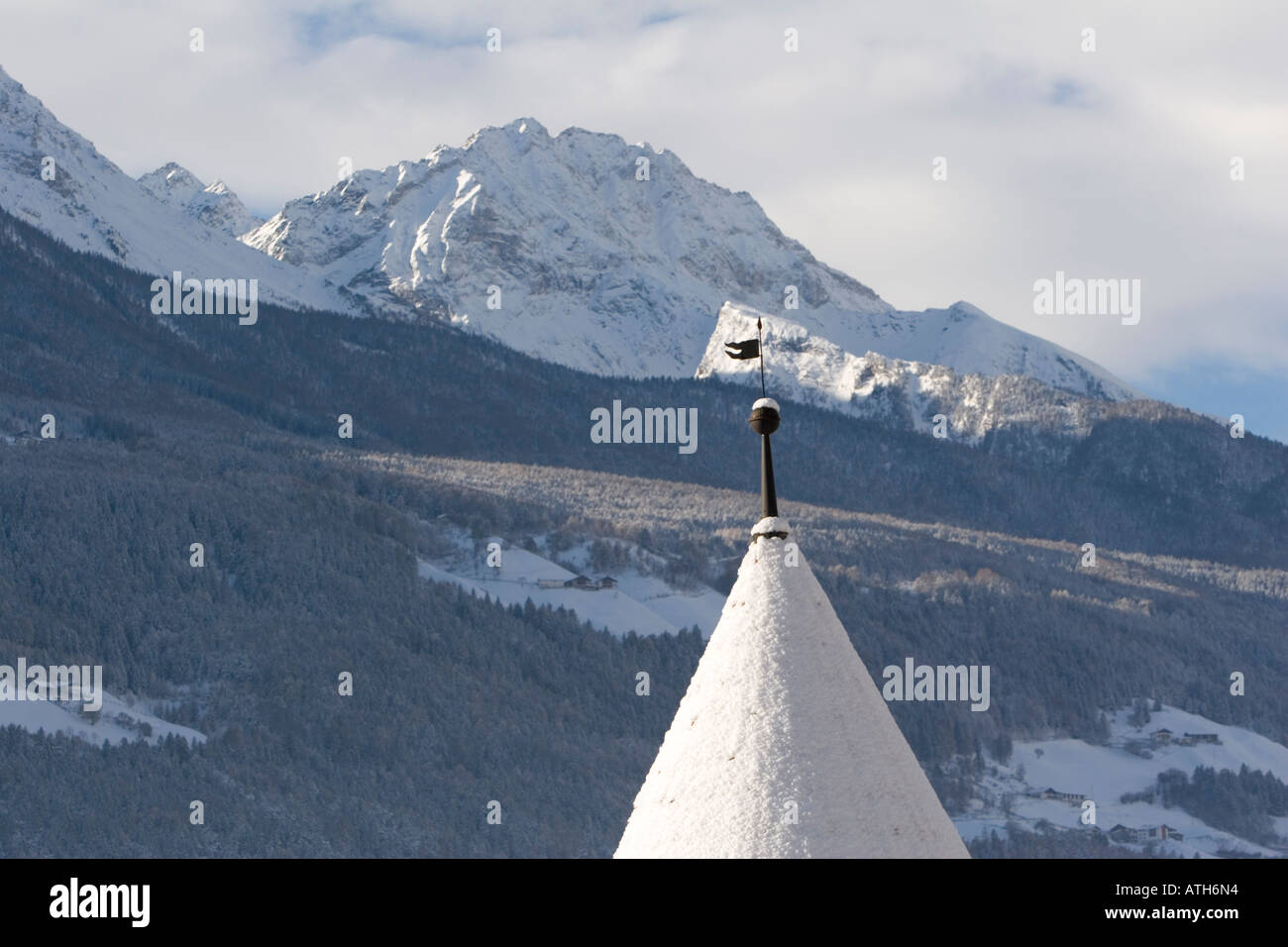 Weathervane on turret of Rennaissance Castle Coldrano, Italy, in winter Stock Photo