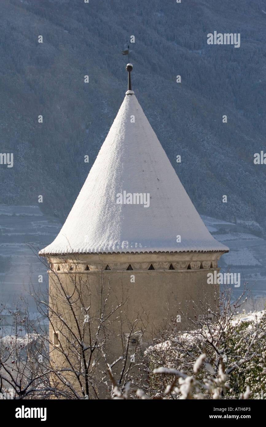 Tower of Rennaissance Castle Goldrain, Italy Stock Photo