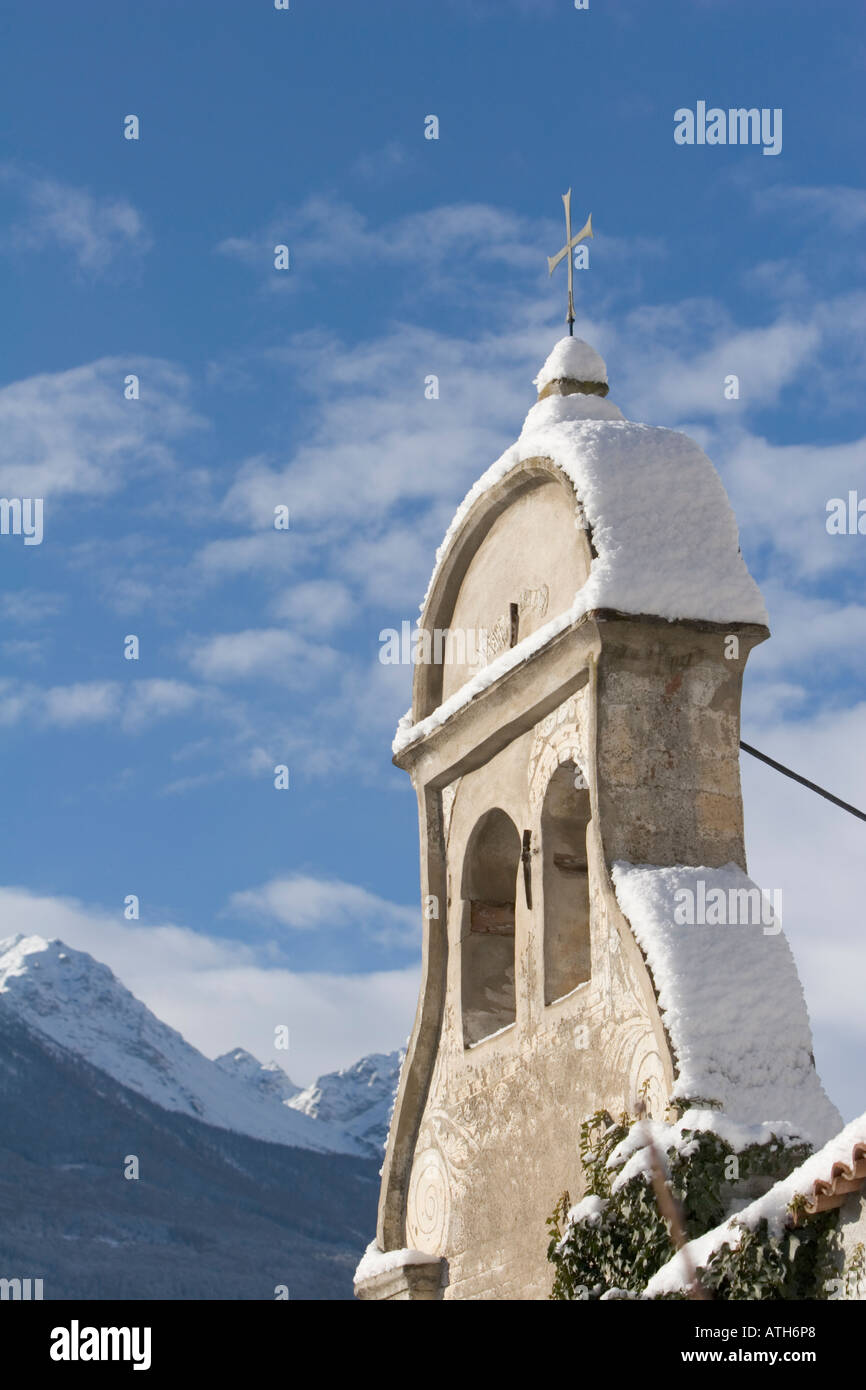 Chapel spire with cross of Rennaissance Castle Goldrain, Italy Stock Photo