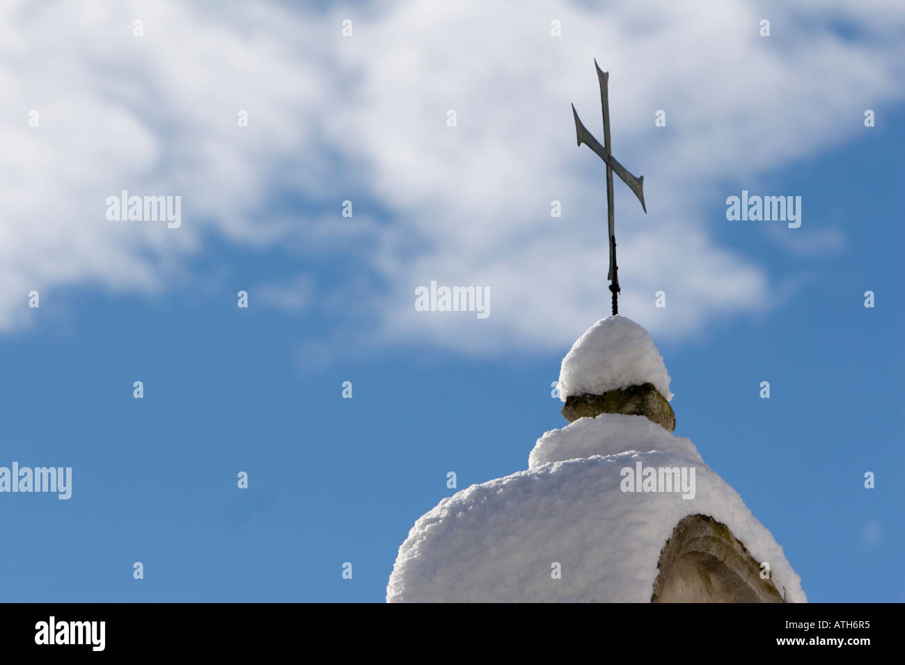 Church cross of Rennaissance Castle Goldrain, Italy Stock Photo