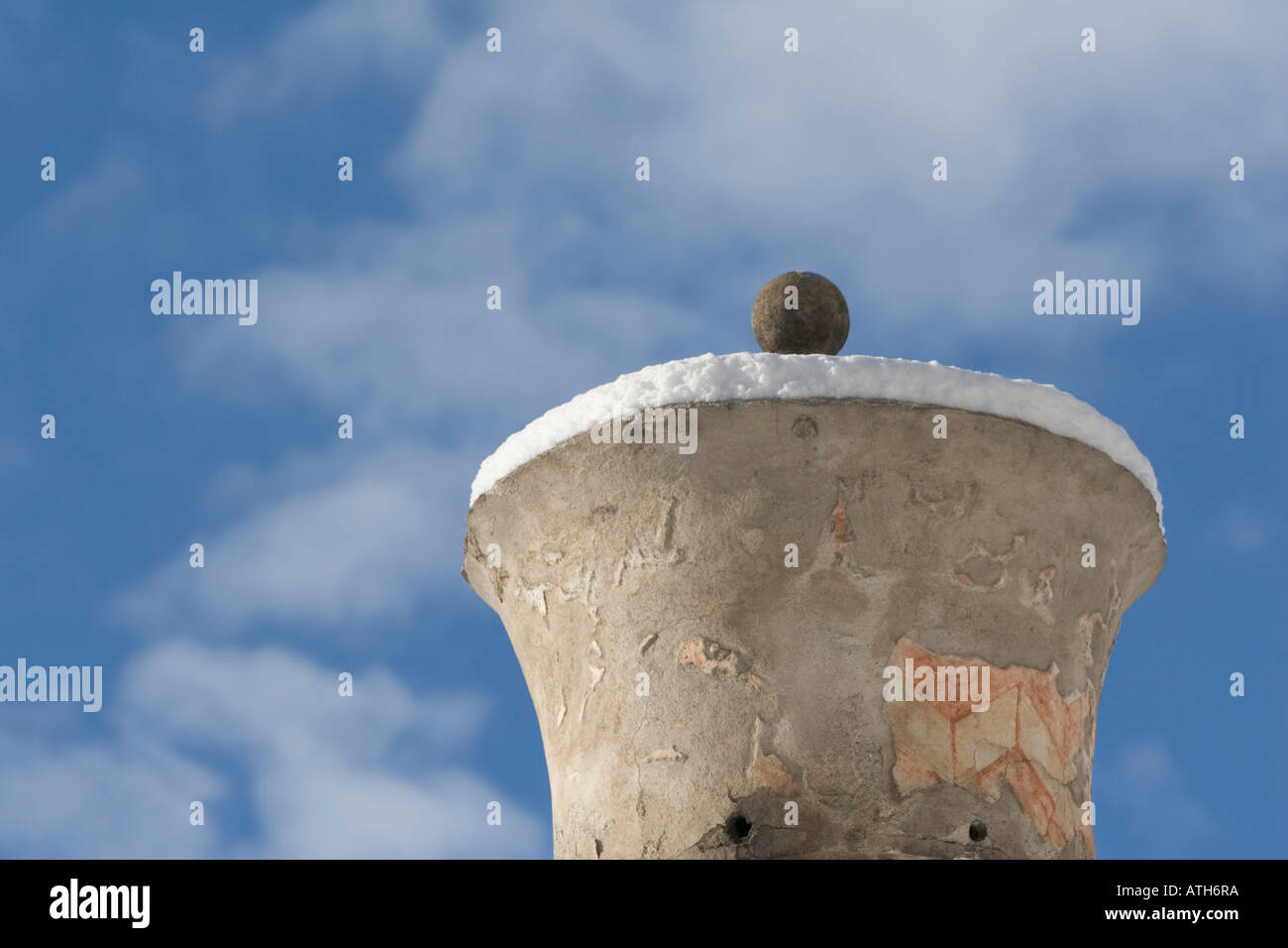 Chimney of the Rennaissance Castle Goldrain, Italy Stock Photo