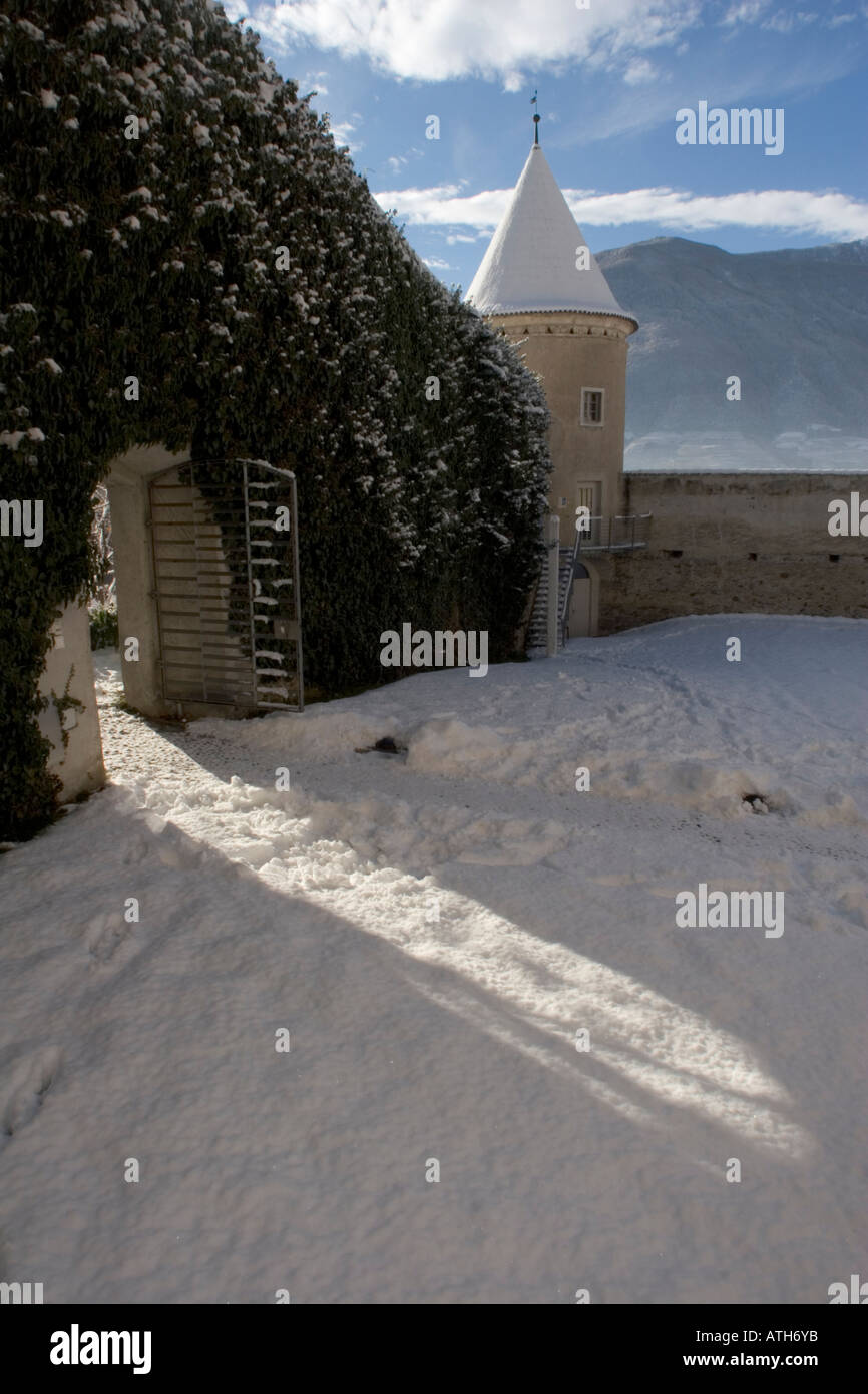 Tower and side entrance to Castle Goldrain, Italy Stock Photo