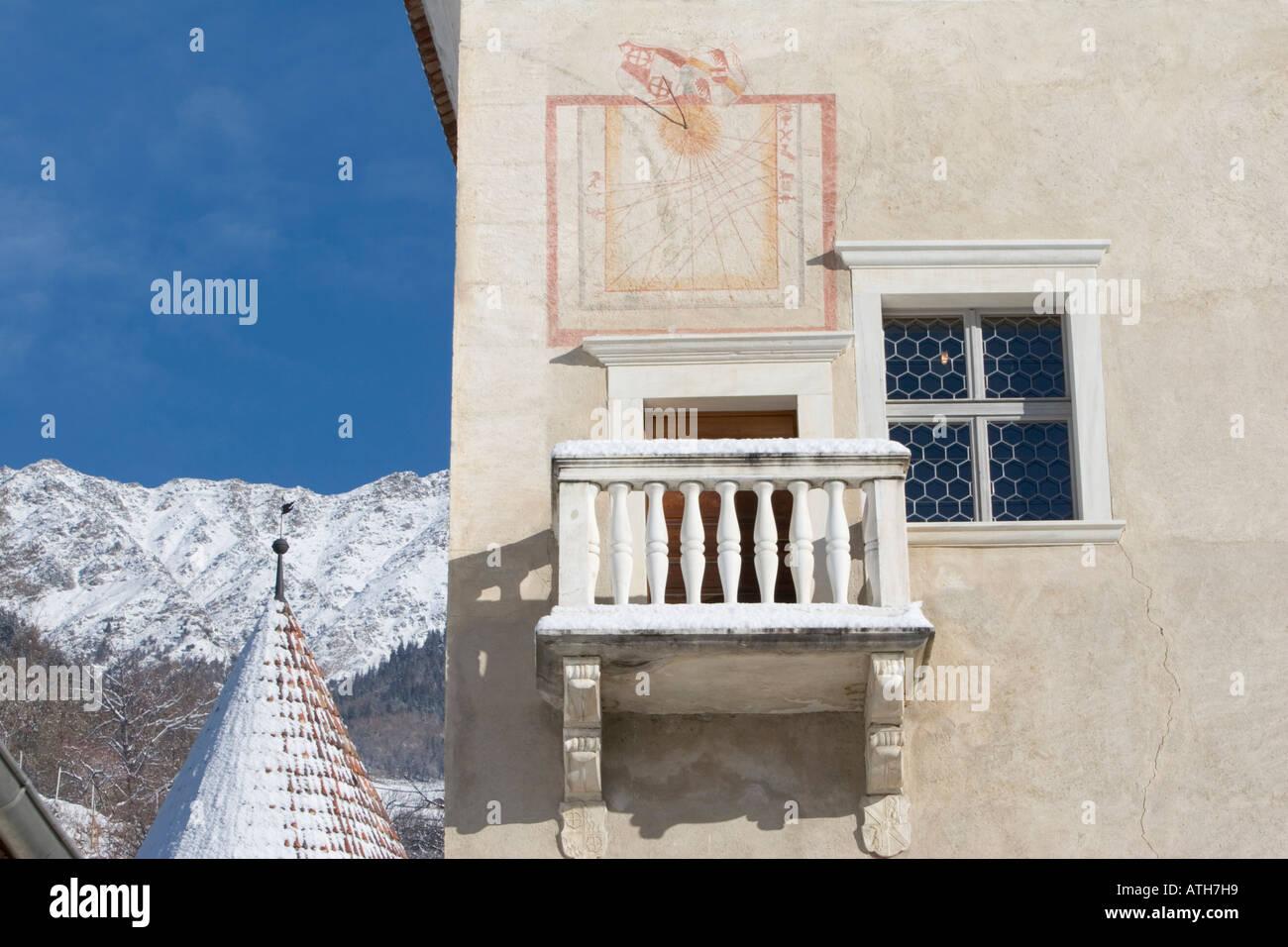 Rennaissance balcony of Castle Coldrano, Italy,  in winter. Stock Photo