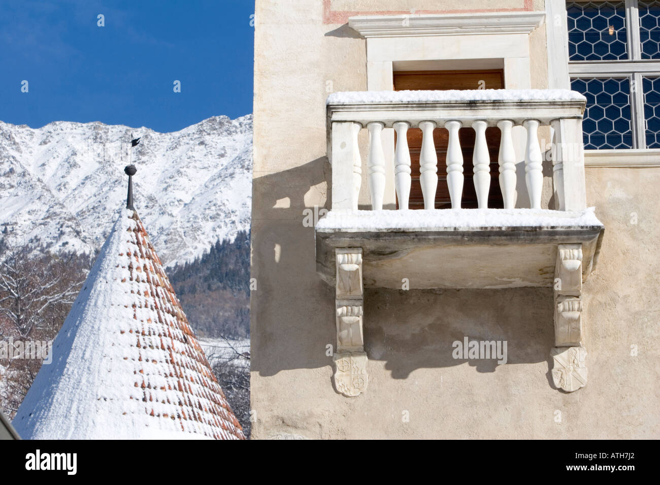 Rennaissance balcony of Castle Coldrano, Italy,  in winter. Stock Photo