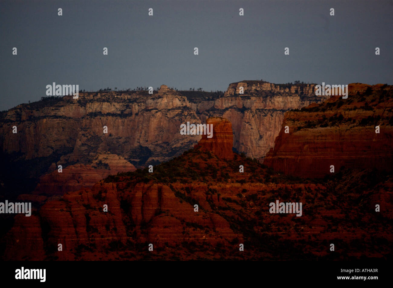 desert sunrise Sedona Arizona redrock landscape - Stock Image