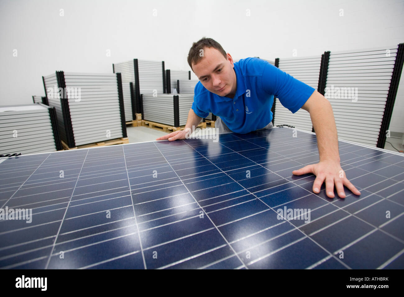 Conergy SolarModule GmbH Co KG production of solar modules - Stock Image