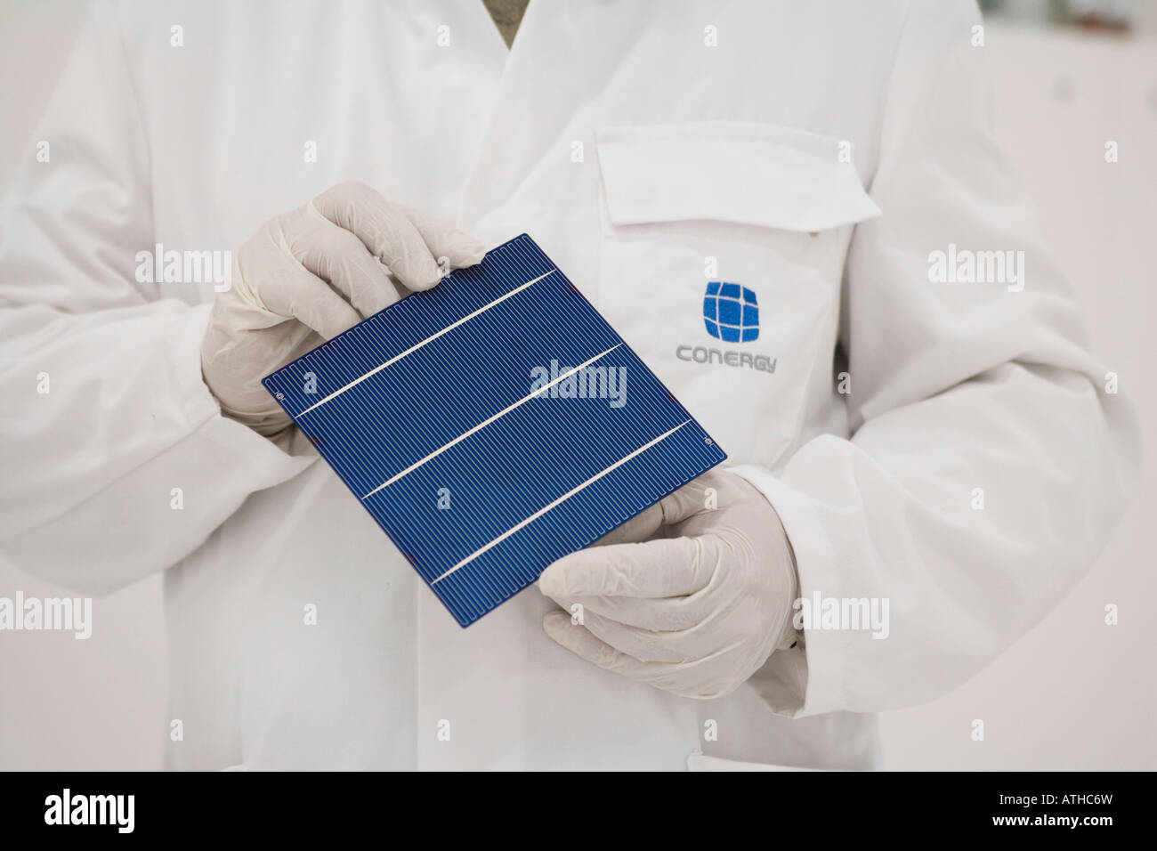 Conergy SolarModule GmbH Co KG production of solar cells - Stock Image
