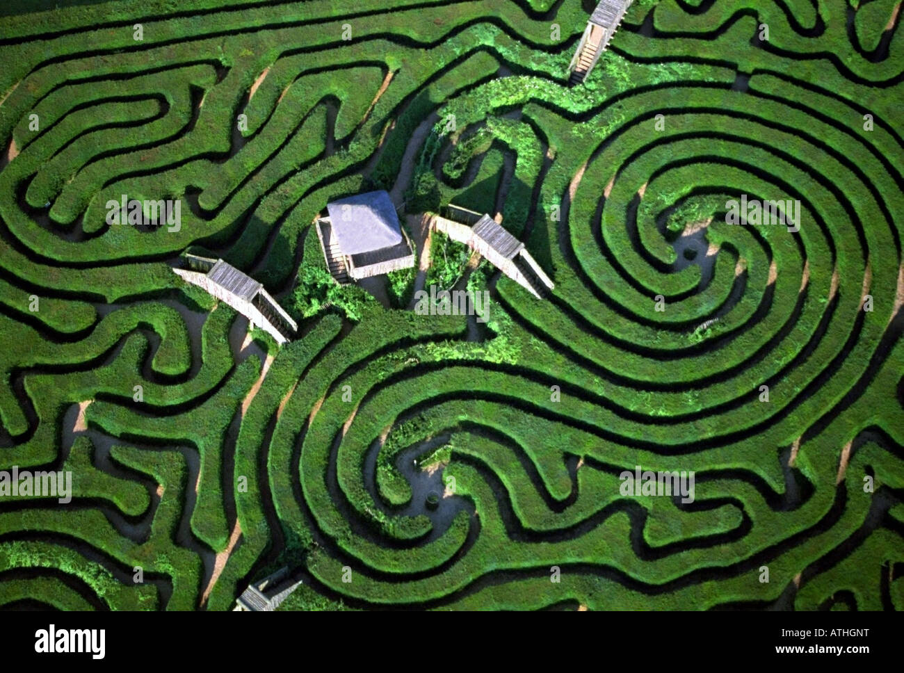 Longleat Maze aerial view, Wiltshire, England - Stock Image