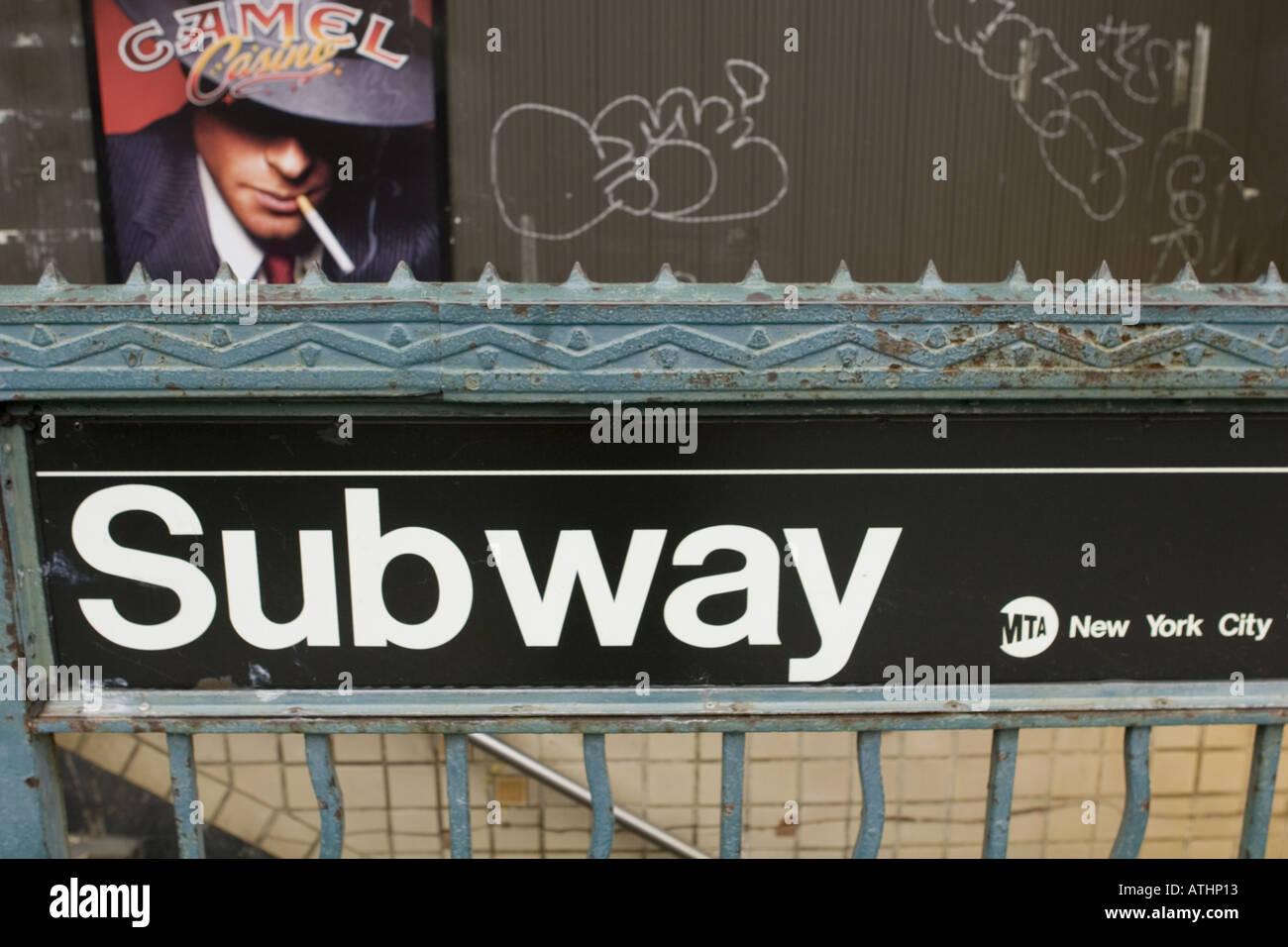 Subway entrance Greenpoint Brooklyn New York City - Stock Image