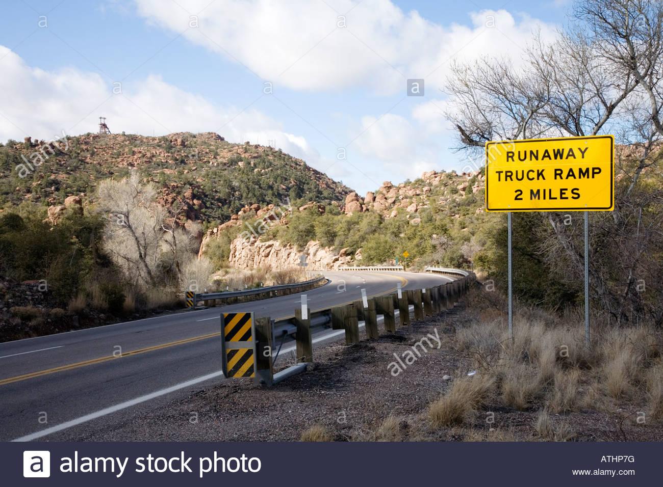 Highway Sign Warning Caution Runaway Truck Ramp 2 miles U S Highway 70 Queen Creek Arizona - Stock Image