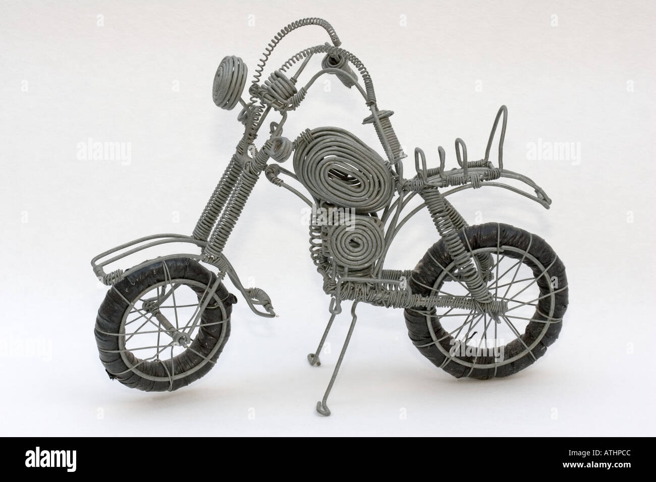 Model motorcycle made from soft steel wire made and sold by Kenyan ...