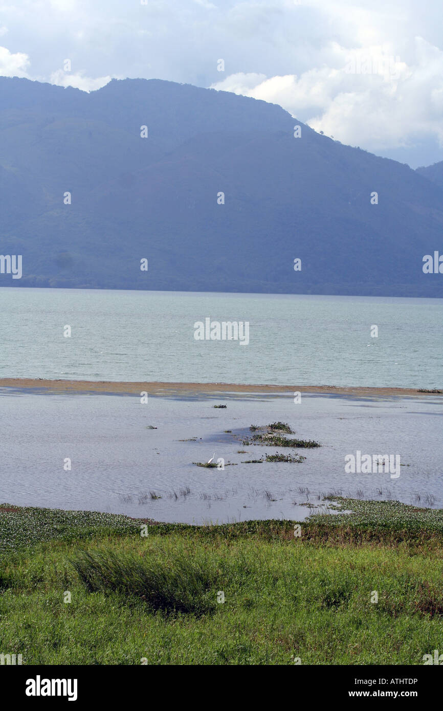View of the lake, marsh, and mountains from the western shore of Lago de Yojoa, Honduras. Stock Photo