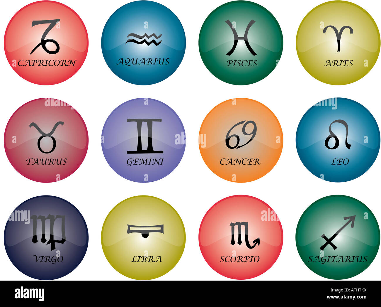 Vector graphic of buttons zodiac signs with multicoloured glaze - Stock Image