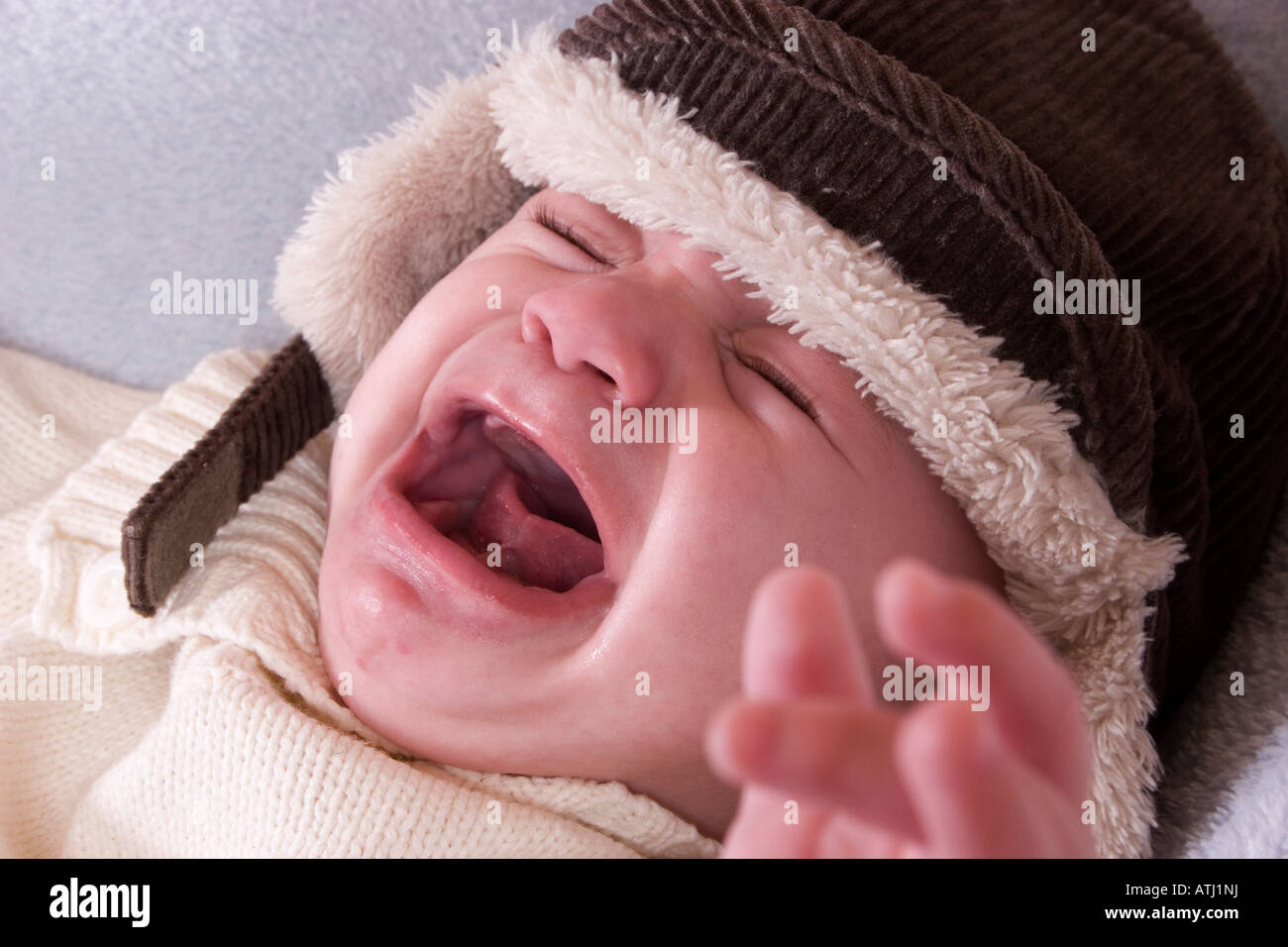 6 month old baby in winter hat screaming Stock Photo  16326605 - Alamy 613a5196ad3