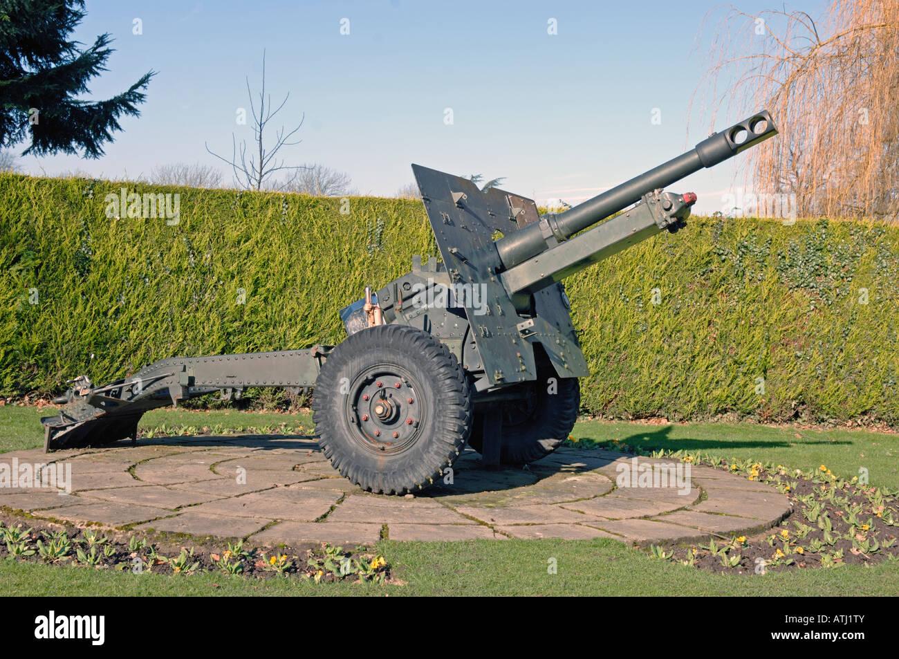 British 25 pound field gun on display in park at Oswestry