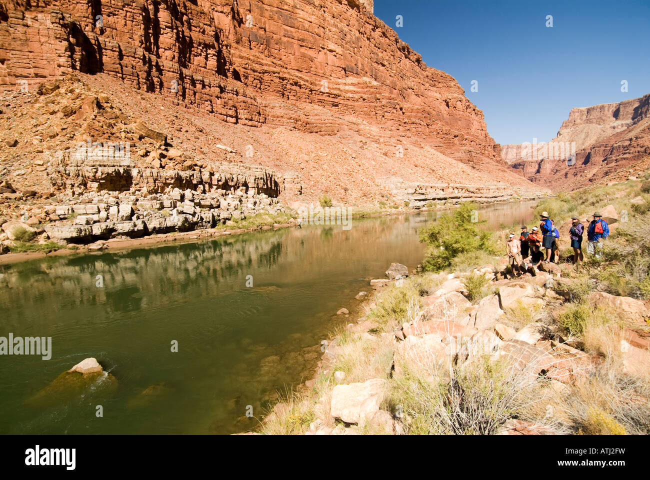Scouting one of the Roaring Twenties while rafting the Colorado River in the Grand Canyon National Park Arizona - Stock Image