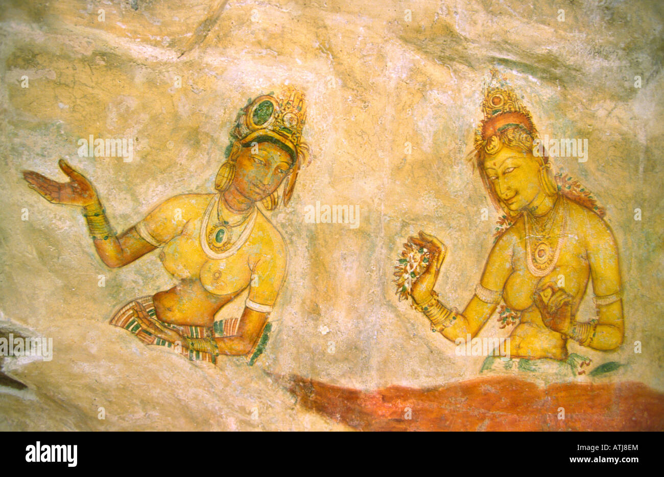Sri Lanka Sigiriya rock fortress Maidens tempera fresco - Stock Image