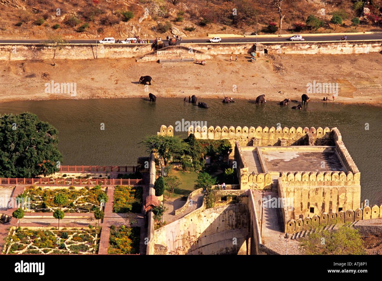 Kesar Kyari Bagh, garden in Maota Lake, near Amber Fort, Rajasthan, India - Stock Image