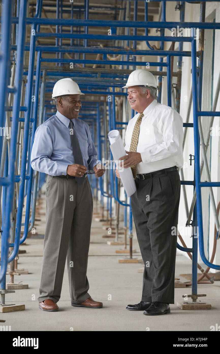 Two engineers at a construction site Stock Photo