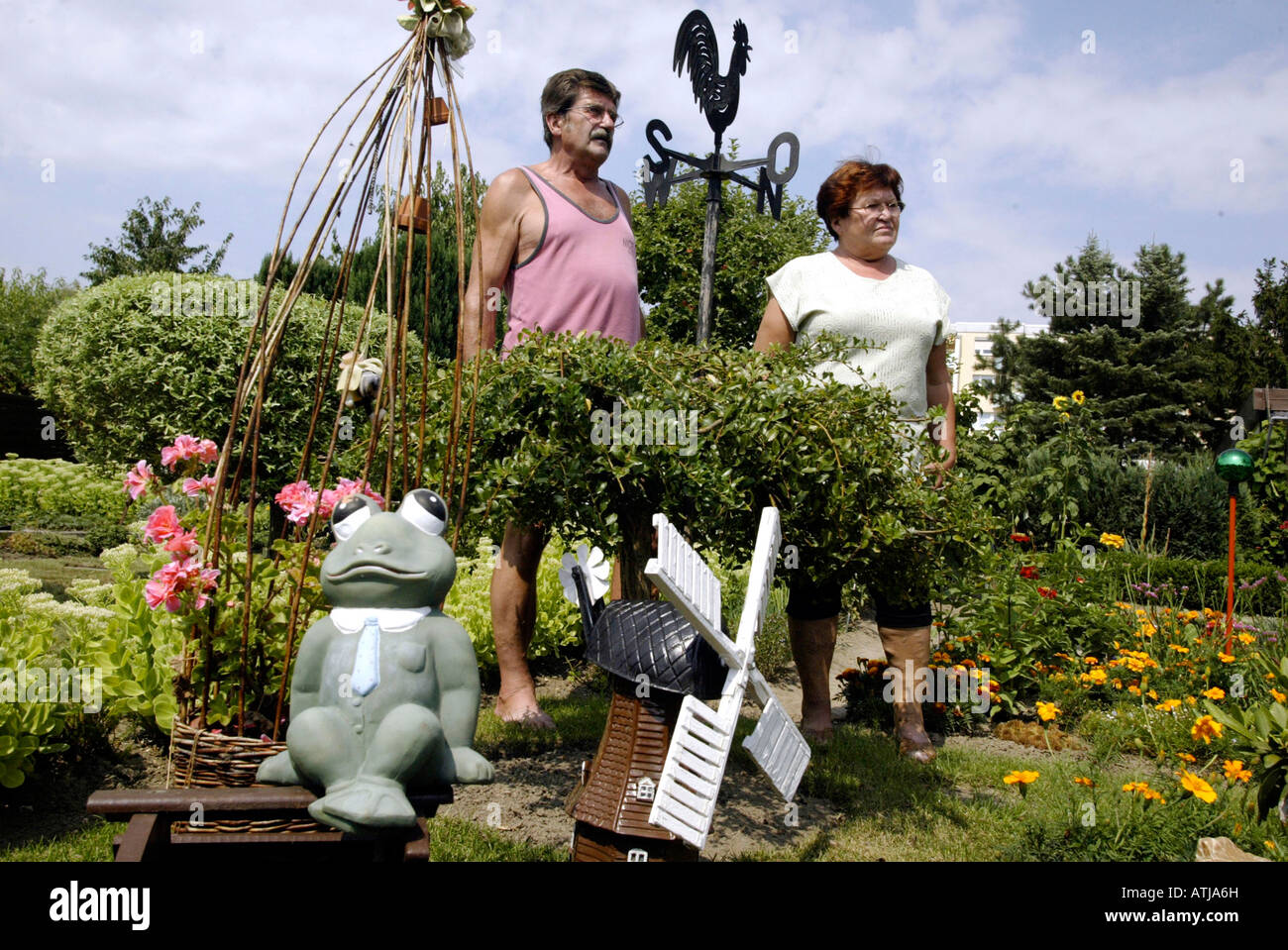 men and woman in an allotment garden - Stock Image