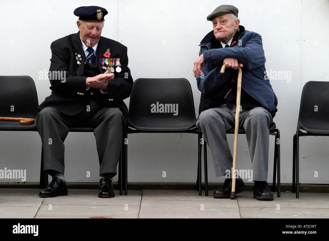 Veterans Reminiscing at a Remembrance Sunday Service in the UK - Stock Image