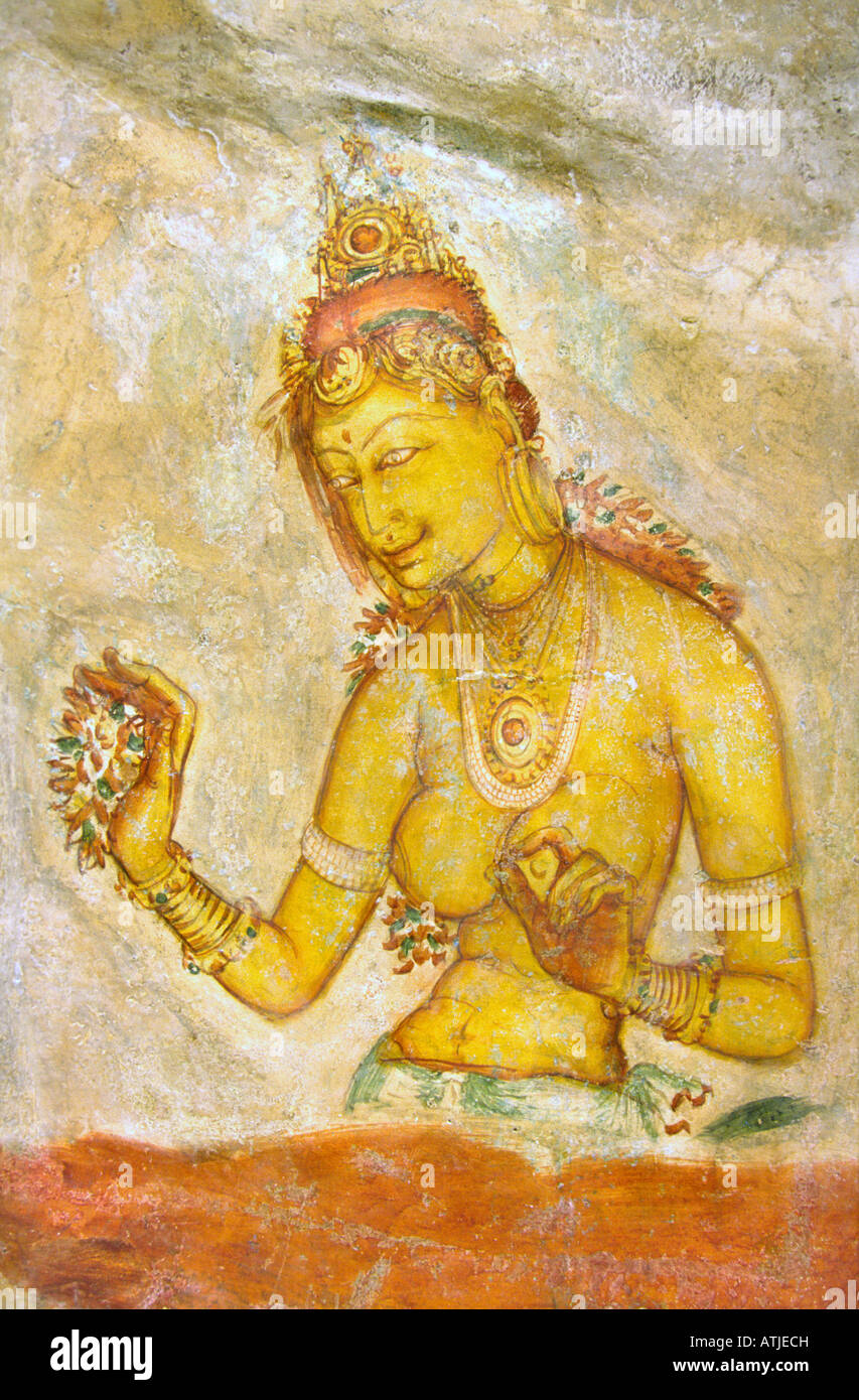 Sri Lanka Sigiriya rock fortress Maiden tempera fresco - Stock Image