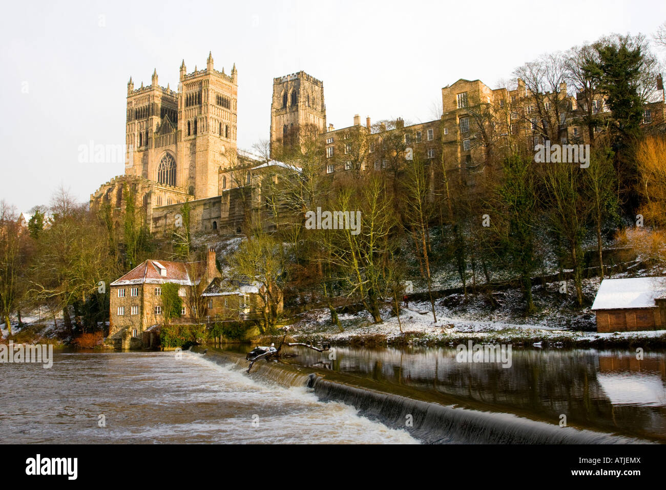 Durham Cathedral Above The River Wear With Light Snow England Uk