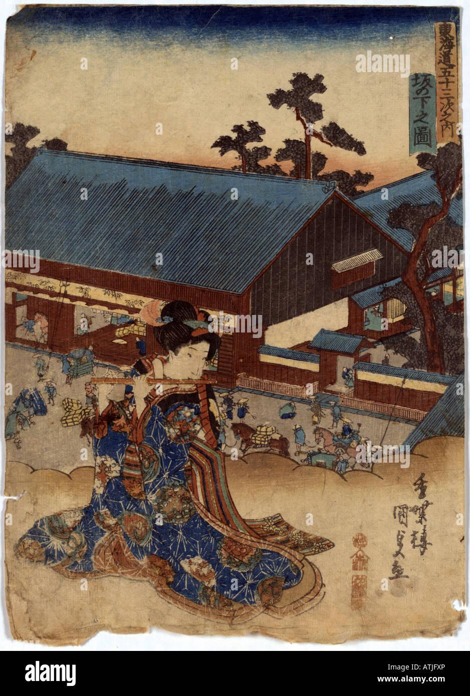 Japanese Ukiyo e print - Stock Image