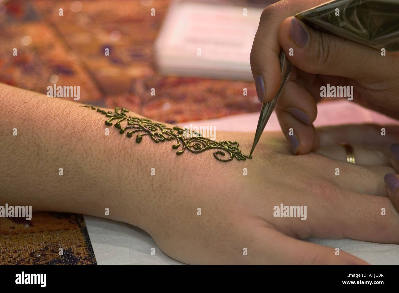 Henna Tattoo Body Art Detail Hand Woman Culture Tradition Typical Stock Photo Alamy