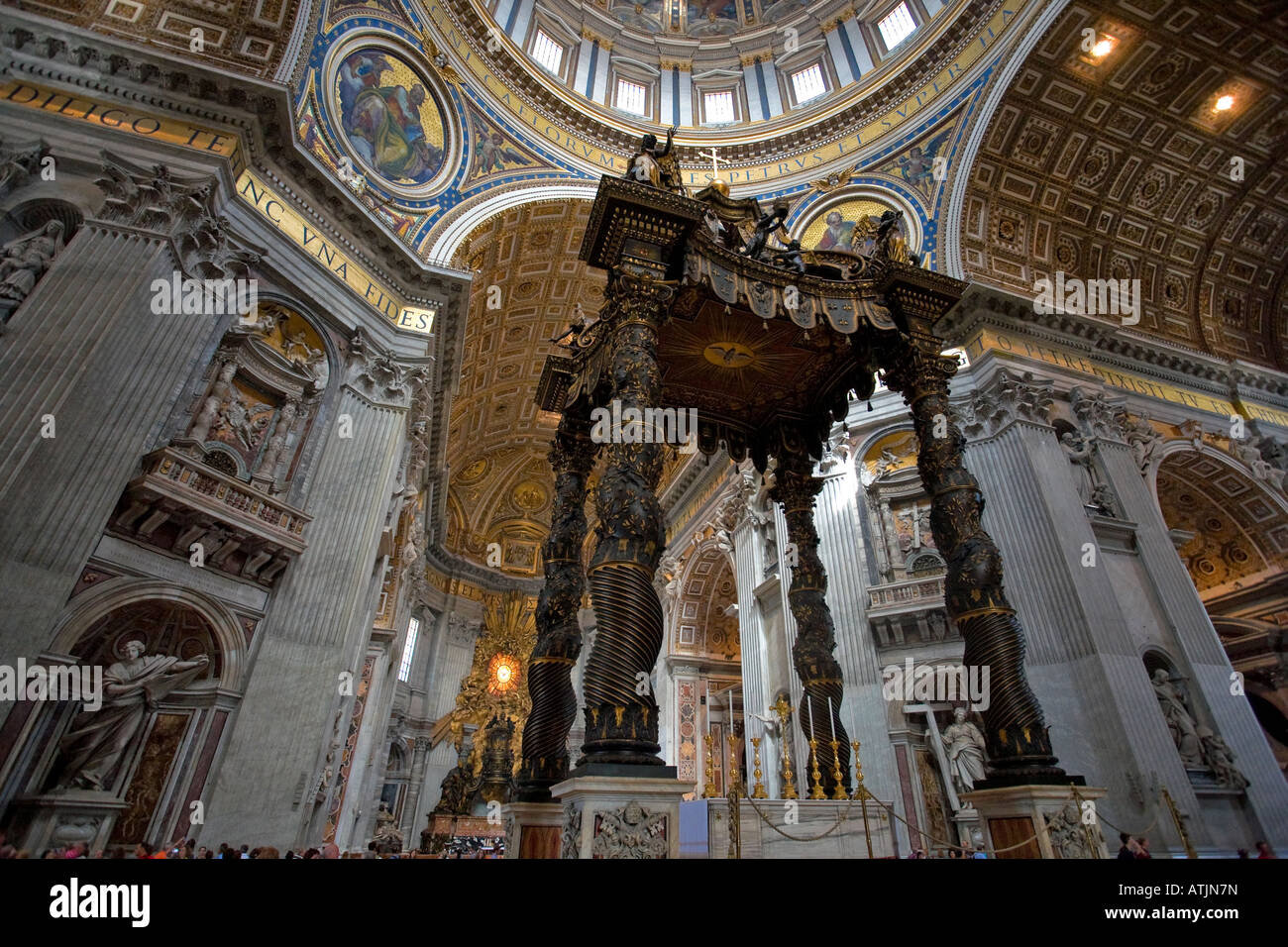 Detail of Bernini s Baroque baldachin St Peter s Basilica Rome Italy - Stock Image