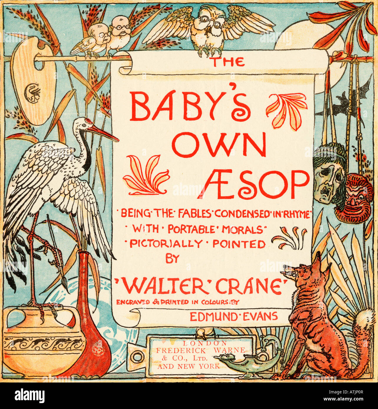 Title Page From the book The Babys Own Aesop by Walter Crane published c1920rom the book Babys Own Aesop by Walter - Stock Image