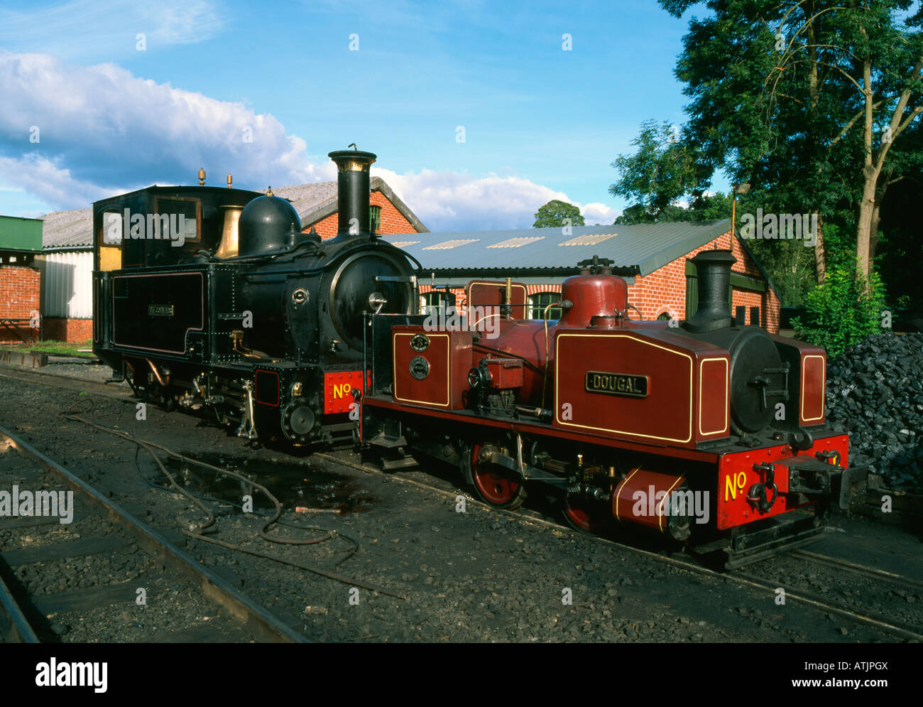 'Dougal' and 'The Countess' steam locomotives, Wales, UK. - Stock Image